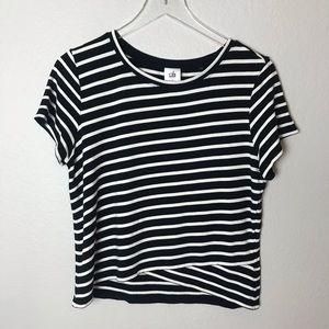 CAbi Crop Top #5059 Striped Black White Crop Top L